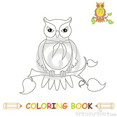 Children coloring page vector illustration, cute owl in monochrome and colour version for kids Vector Illustration