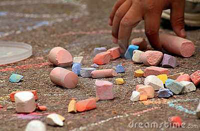 Children and coloured chalks
