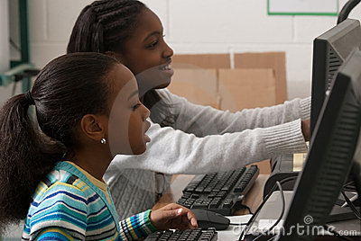 Children at a computer