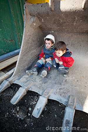 Children on construction site