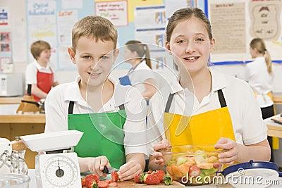 Children in cooking class