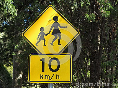 Children crossing road sign
