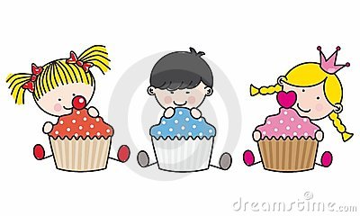 Children with cupcakes