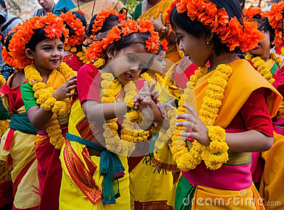 Children dance performers at spring festival Editorial Stock Image