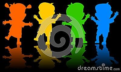 Children Dancing Silhouettes