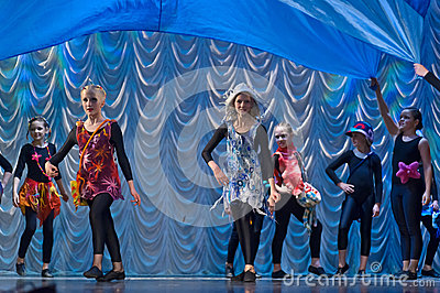 Children dancing on stage