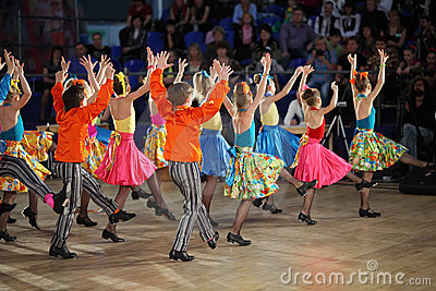 Children dancing step at IX World Dance Olympiad Editorial Image