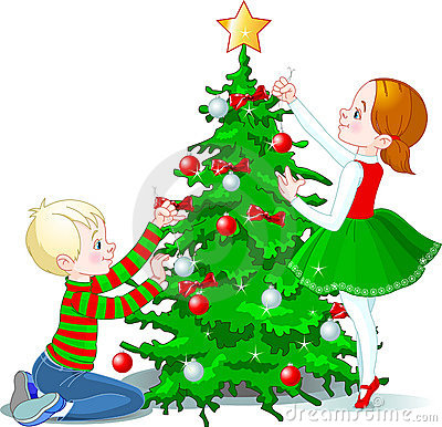 Children decorate a Christmas Tree