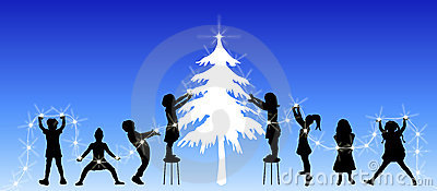 Children Decorating Tree