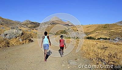Children in desert area