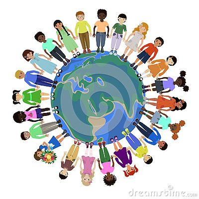 Children of different races holding for hands around the world Stock Photo