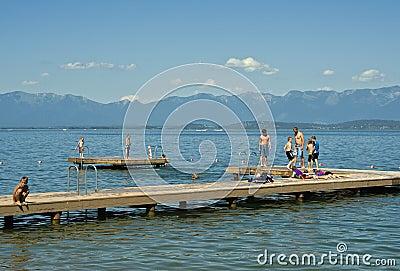 Children on Dock, Montana Lake Editorial Image