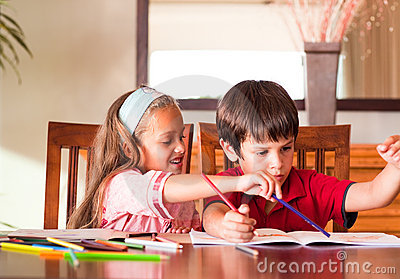 Children doing homework together