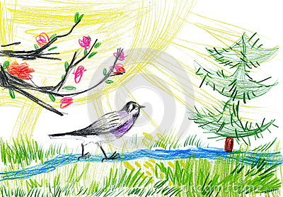 Children drawing. birdie in forest