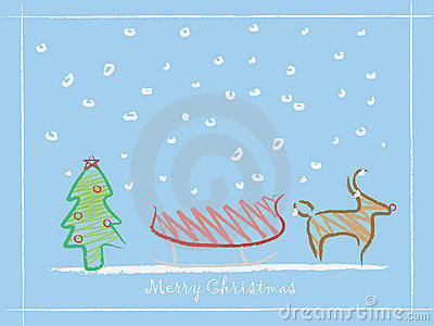 Children drawing Christmas background