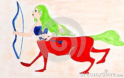 Children drawing - female centaur
