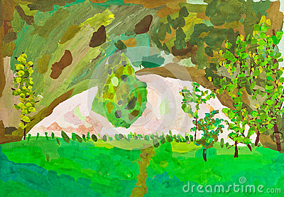 Children drawing - green garden