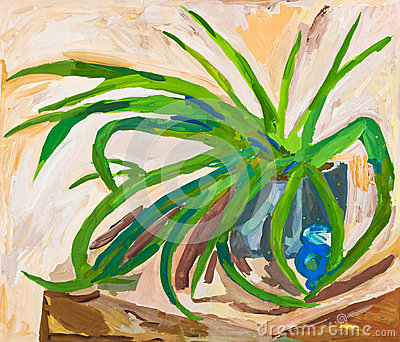 Children drawing - green leaves of indoor plant