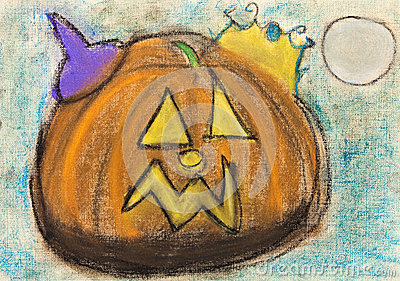 Children drawing - halloween pumpkin