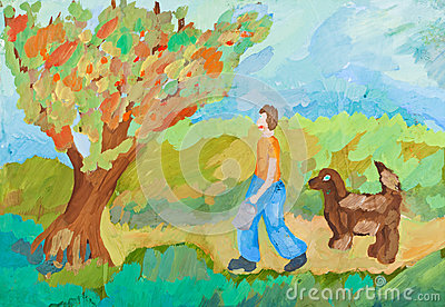 Children drawing - harvest in apple orchard