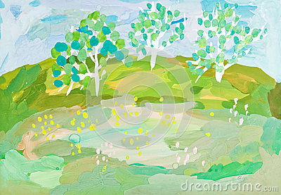 Children drawing - landscape with three trees
