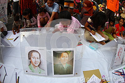 Children drawing national heroes Editorial Photo