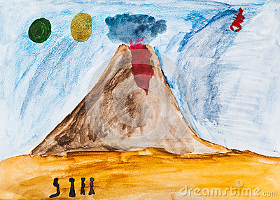 Children drawing - people near active volcano