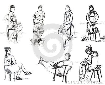 Children drawing - sketches of people motion