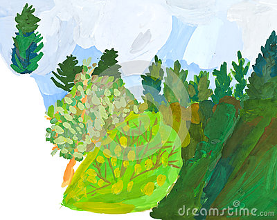 Children drawing - slope of hill in green forest