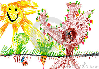 Children drawing. sunny day and owl