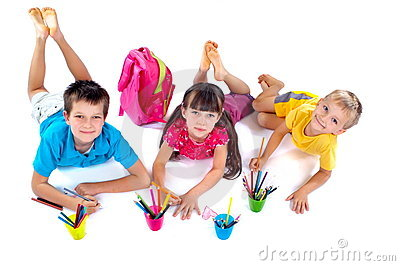Children drawing together