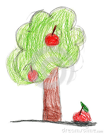 Children drawing. tree with apple