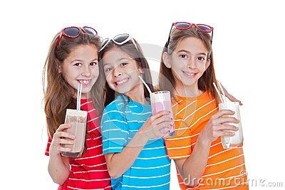 Children drinking milk drinks