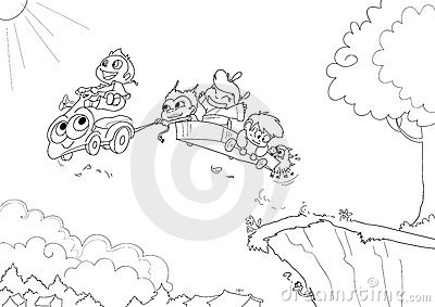 Children driving -bw