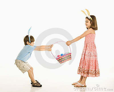 Children with Easter basket.