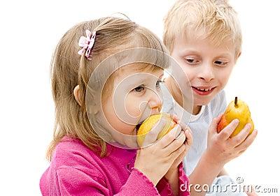 Children eat pears