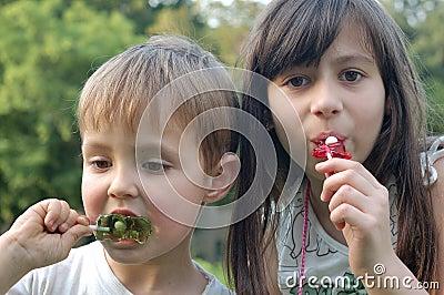 Children eating lollipops