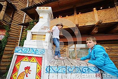 Children in entertainment center Kremlin Editorial Stock Image