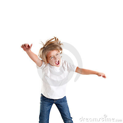 Free Children Excited Kid Epression With Winner Gesture Royalty Free Stock Photography - 23309827