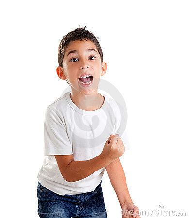 Free Children Excited Kid Epression With Winner Gesture Royalty Free Stock Photos - 23309878