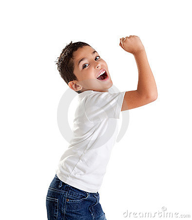 Free Children Excited Kid Epression With Winner Gesture Stock Photo - 23309900