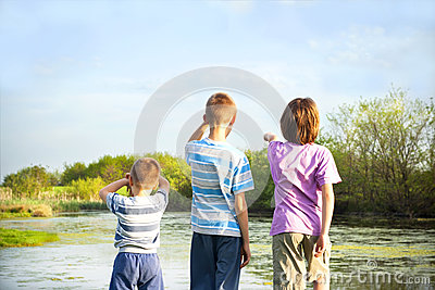 children explore nature