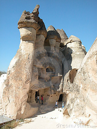 Free Children Exploring The Fairy Chimney Houses At Cappadocia, Turkey Royalty Free Stock Image - 635166