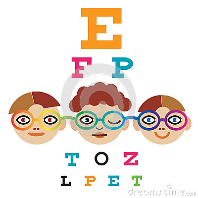 Children At The Eye Doctor. Stock Vector - Image: 44423742