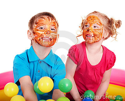Children with face painting.