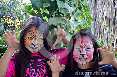 Children with face painting