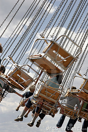 Children on fairground ride