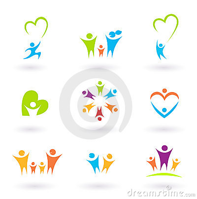 Children, family, community and protection icons