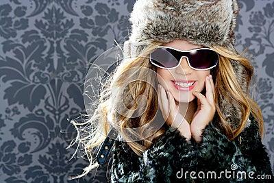 Children fashion blond girl winter season