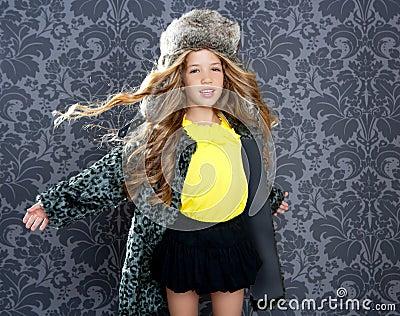 Children fashion girl winter leopard coat